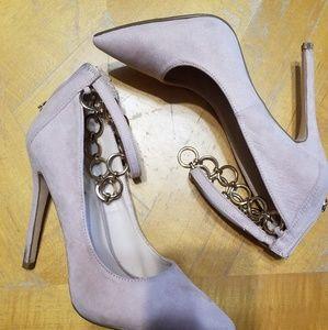 Shoedazzle Suede Beige Heels